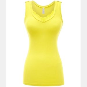 Yellow deep vneck lace lowcut sexy vneck tank top